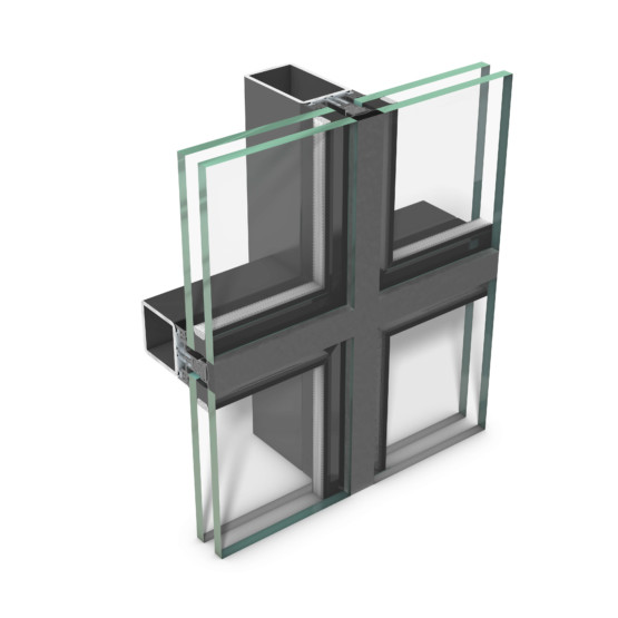 rp tec 50-1SG, all-glass curtain wall serving as an add-on structure of mullion-transom design