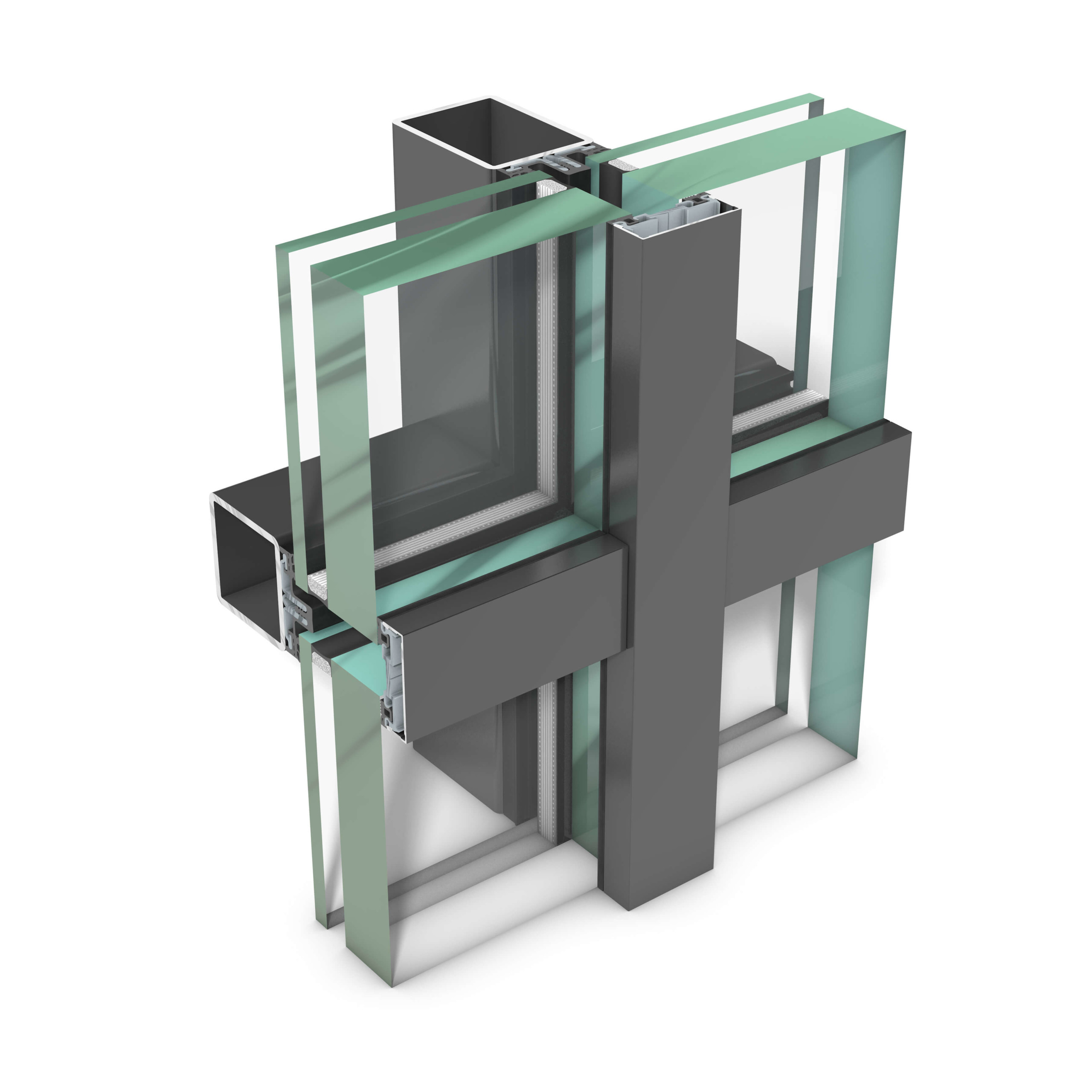 rp tec 55-1BR, steel add-on curtain wall for high safety requirements