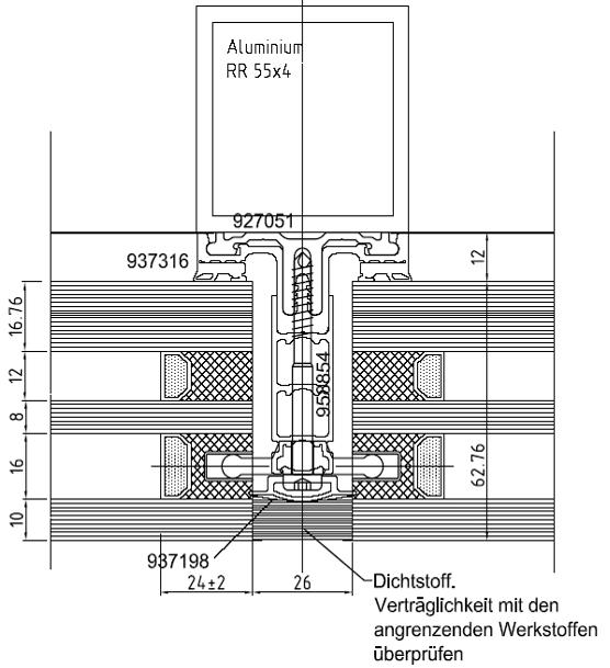 Balna Center Ganzglas Fassadensystem Rp Tec 55 1SG Schnitt 1