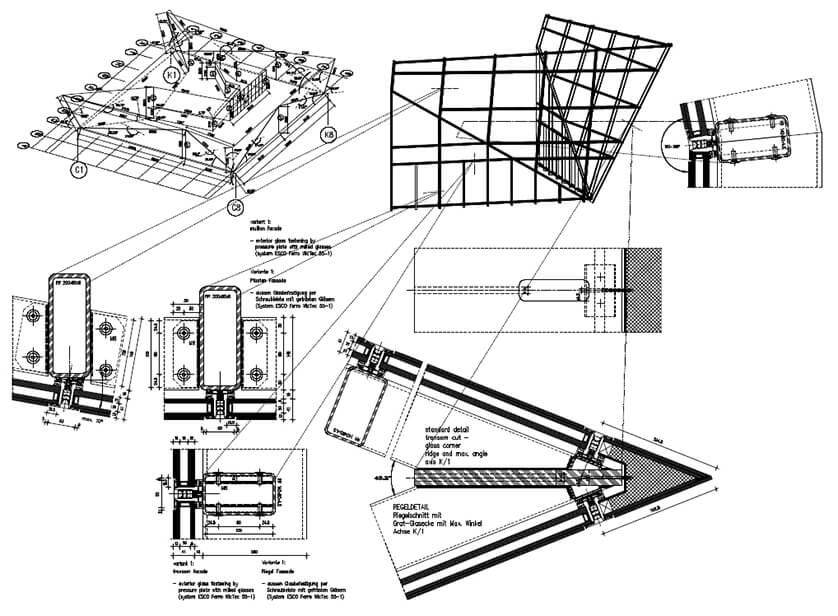 Cube Birmingham Stahl Aufsatzfassade Rp Tec 55 1SG Schnitt
