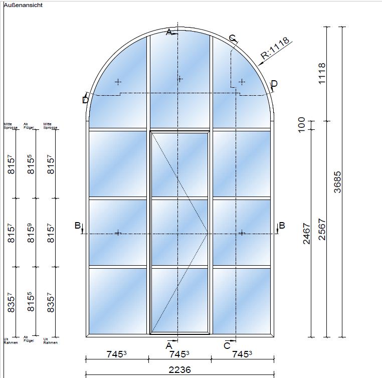 Digitales Zentrum Schwaben Stahlfenster System rp fineline Schnitt Aussenansichtt