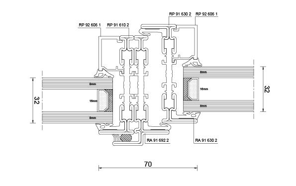 Luebeck Gaswerk Stahlfenster System Rp Fineline 70W Schnitt